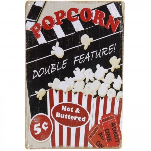 Placa Decorativa - Popcorn Double Feature