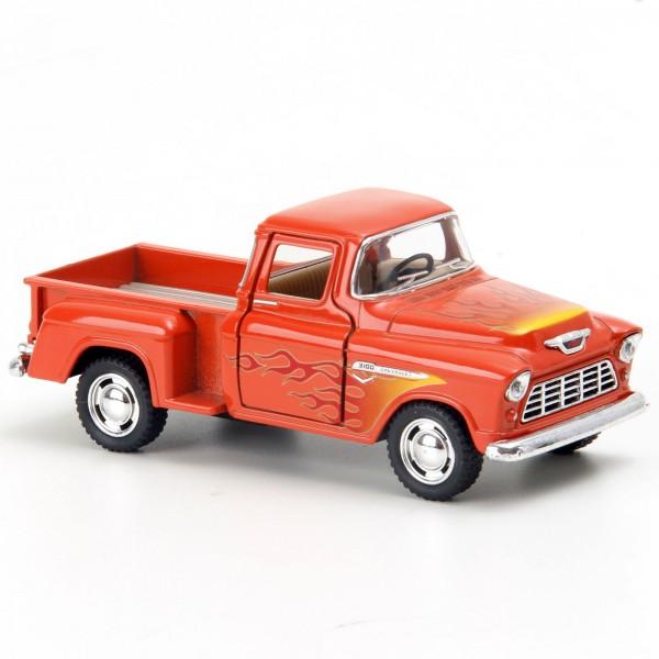 Miniatura em Metal - 1:32 - Chevy Stepside Pick - Up Flames - 1955 - Laranja